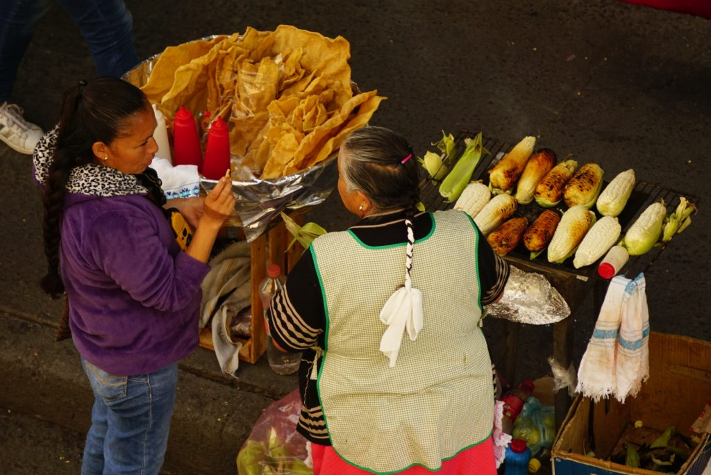Elote- Food stand in Mexico City