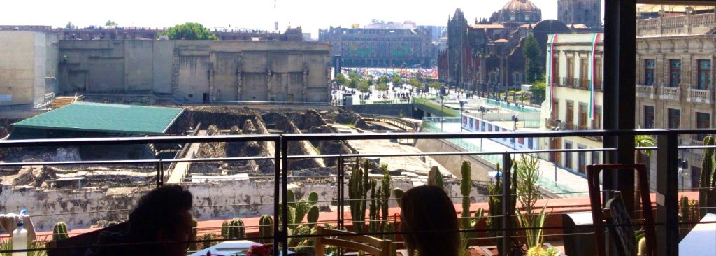 Zocalo and Templo Mayor view from restaurant